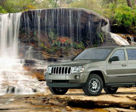 Jeep and Waterfall
